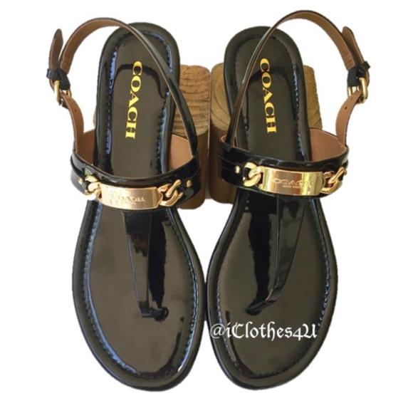 90b7df0b066c Coach Caterine Patent Leather Thong Sandal. M 5b019e3b9a9455ce3b38e00a